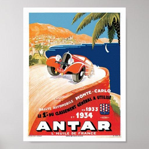Monte Carlo FranceAutomobile Vintage Ad Art Poster