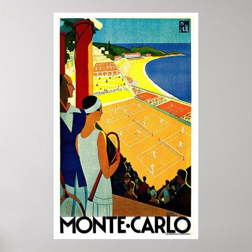 Monte Carlo Monaco Tennis Travel Art Posters