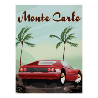 Monte Carlo red sports car travel poster