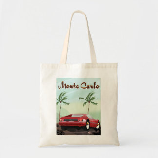 Monte Carlo sports car travel poster Budget Tote Bag