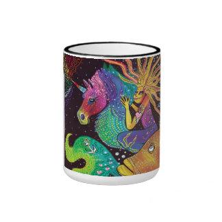 Monte el arco iris tazas de café