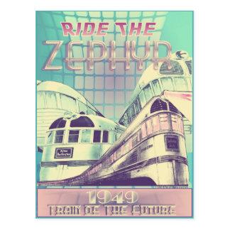 Monte el tren del Zephyr 1949 de la postal futura