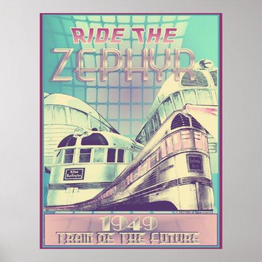 Monte el tren del Zephyr 1949 del poster futuro