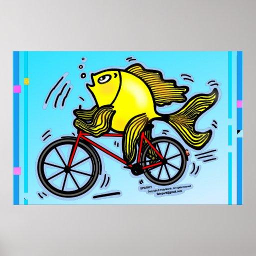 Monte en bicicleta el poster de los pescados - teb