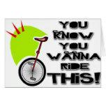 Monte este Unicycle Tarjeta De Felicitación