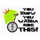 Monte este Unicycle Tarjeta Postal