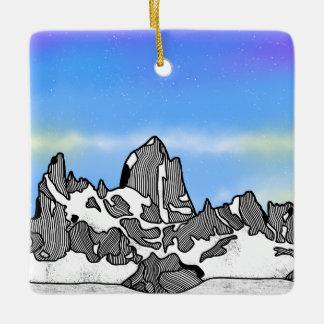 Monte Fitz Roy Mountain Landscape Ceramic Ornament