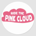 Monte la nube rosada pegatina redonda