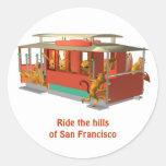 Monte las colinas de San Francisco en teleférico Pegatina Redonda