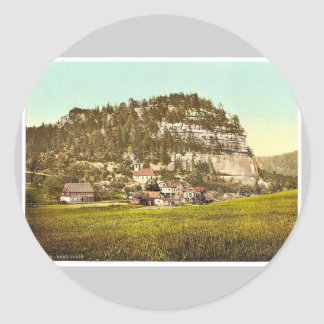 Monte Oybin, Zittau, Sajonia, Alemania P magnífico Pegatina Redonda