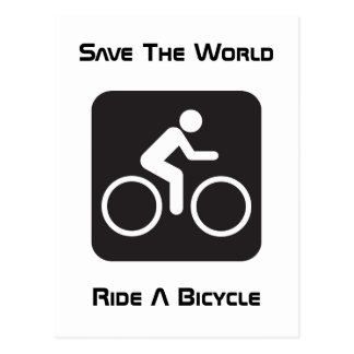 Monte una postal de la bicicleta