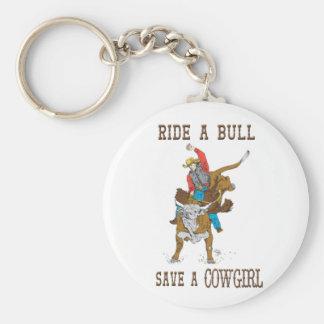 Monte una reserva de Bull un llavero de la vaquera