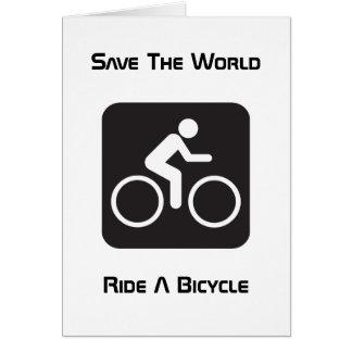 Monte una tarjeta de felicitación de la bicicleta