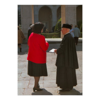 Montecassino Chatting to a monk Posters