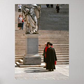 Montecassino Monk talking to visitor Poster