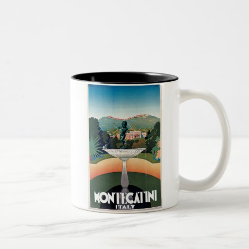 Montecatini, Italy Vintage Travel Poster Two-Tone Coffee Mug