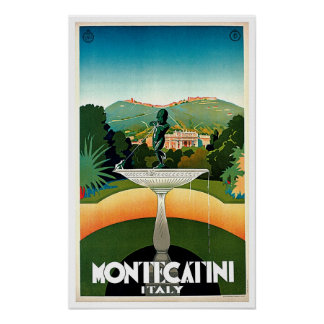 Montecatini Tuscany Italy Vintage Travel Posters