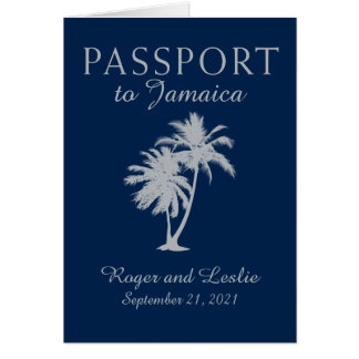 Montego Bay Jamaica Navy Blue Wedding Passport Card