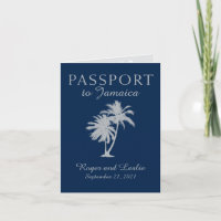 Montego Bay Jamaica Navy Blue Wedding Passport Invitation