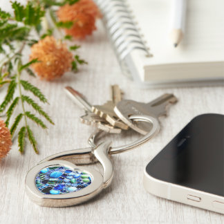 Montego Blues Mosaic Silver-Colored Heart-Shaped Metal Keychain