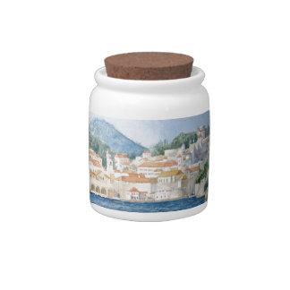 Montenegro Budva watercolor landscape Candy Dishes