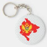 Montenegro Flag Map full size Keychains