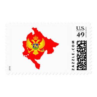 Montenegro flag map stamps