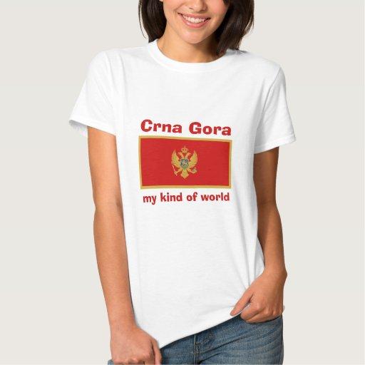 Montenegro Flag + Map + Text T-Shirt