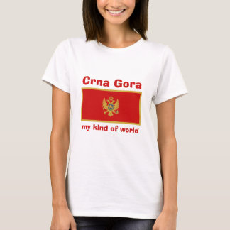 Montenegro Flag + Map + Text T-Shirt