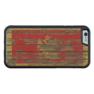 Montenegro Flag on Rough Wood Boards Effect Carved Maple iPhone 6 Bumper Case
