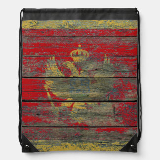Montenegro Flag on Rough Wood Boards Effect Drawstring Bag