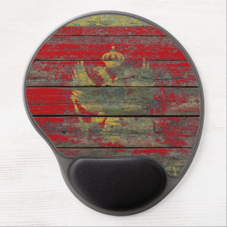Montenegro Flag on Rough Wood Boards Effect Gel Mouse Pad