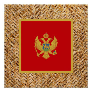 Montenegro Flag on Textile themed Poster