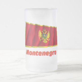 Montenegro Waving Flag with Name Frosted Glass Beer Mug