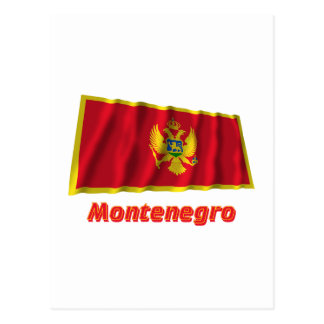 Montenegro Waving Flag with Name Postcard