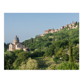 Montepulciano cathedral and town postcard