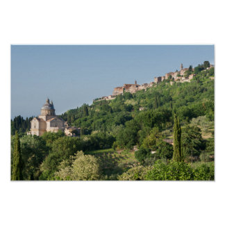 Montepulciano cathedral and town poster print
