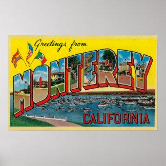 Monterey, California - escenas grandes 2 de la let Póster