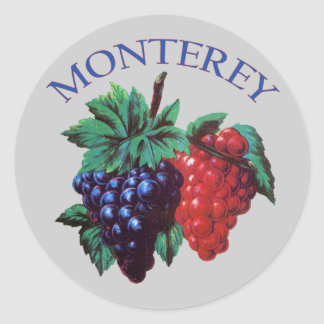 Monterey California Grapes Classic Round Sticker