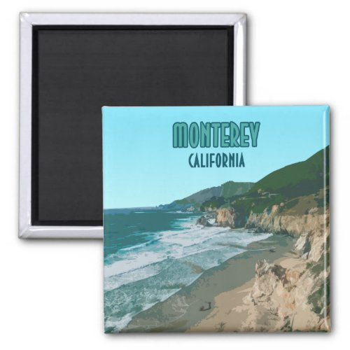 Monterey California Pacific Coast Highway Vintage Magnet