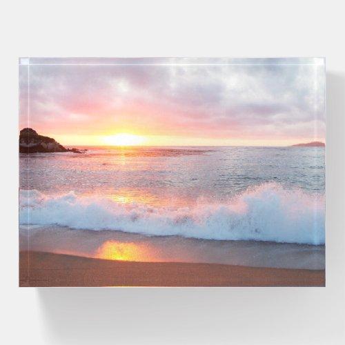 Monterey California Sunset Beach Waves Photo Paperweight