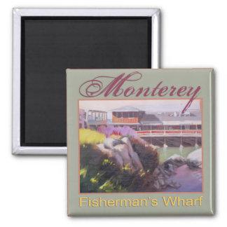 Monterey Fishermans Wharf Scenic California Coast 2 Inch Square Magnet