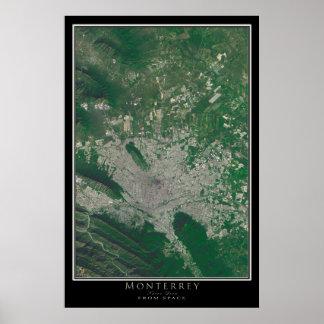 Monterrey Mexico From Space Satellite Art Poster