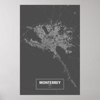 Monterrey, Mexico (white on black) Poster