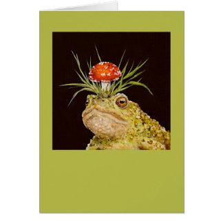 Montesque el sapo con la tarjeta del gorra del toa