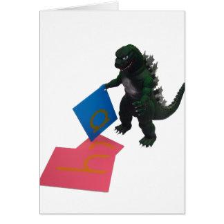 Montessaurus y tarjeta de nota de papel de las let
