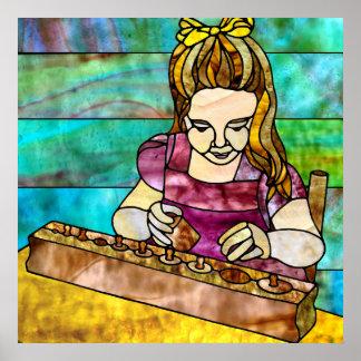 Montessori Child with Sensorial Cylinder Block Print
