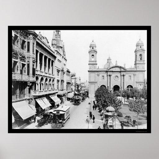 Montevideo, Uruguay Street Scene 1906 Poster