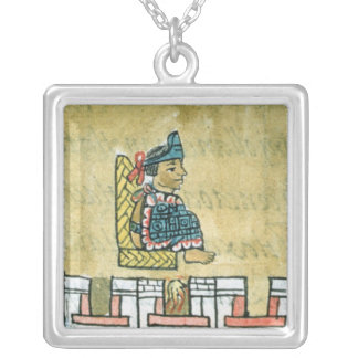 Montezuma II , from the 'Florentine Codex' Silver Plated Necklace