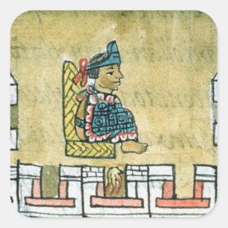 Montezuma II , from the 'Florentine Codex' Square Sticker